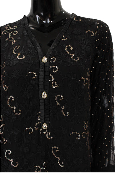 Black Chiffon shirt with thread embroidery - HS512