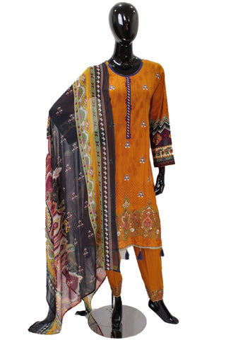 Burnt Orange Printed Cotton Suit with Embroidery  - 0511
