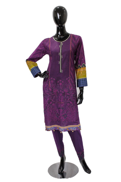 Dark Purple Printed Cotton Suit with Embroidery - 0535