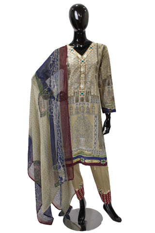 Soft Taupe Embroidered Ladies Cotton Suit - 0525