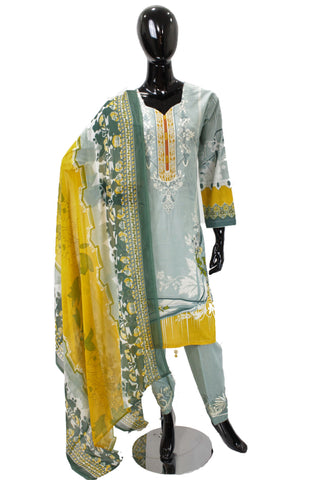 Seafoam Printed Cotton Suit with Embroidery - 0547