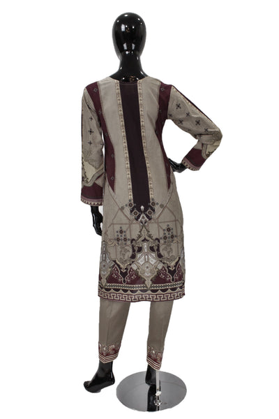 Taupe Printed Cotton Suit with Embroidery - 0515