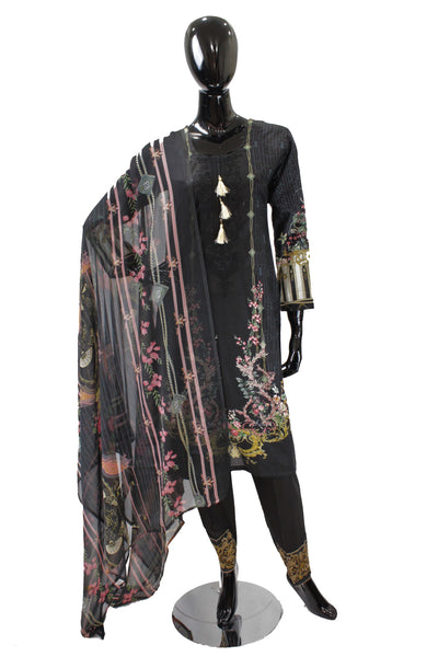 Black Printed Cotton Suit with Embroidery - 0537