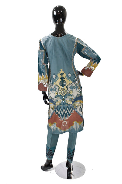 Dark Teal Printed Cotton Suit with Embroidery - 0540