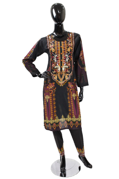 Black Printed Cotton Suit with Embroidery  - 0523