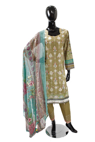 Dark Tan Printed Cotton Suit with Embroidery  - 0501