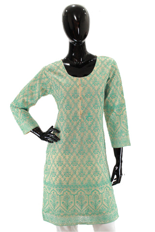 Mint Embroidered Cotton Net Kurti