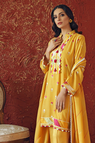 Gul Ahmed Yellow Embroidered 3-pc suit Karandi Dupatta