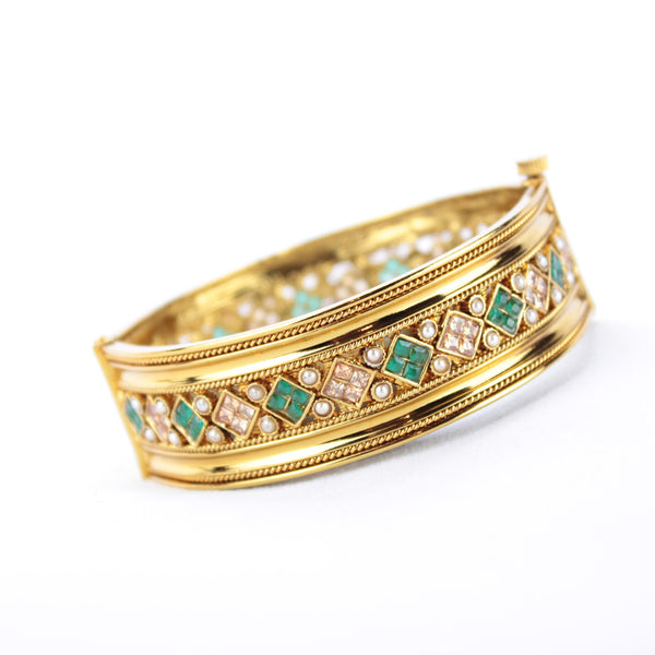 Gold Kada Diamond Design - Available in 4 Colors