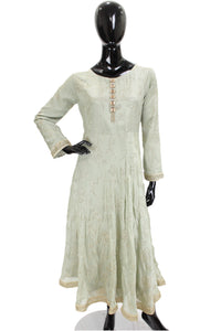 Silk Mukesh Anarkali Mint Kurti