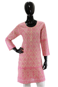 Pink Embroidered Cotton Net Kurti