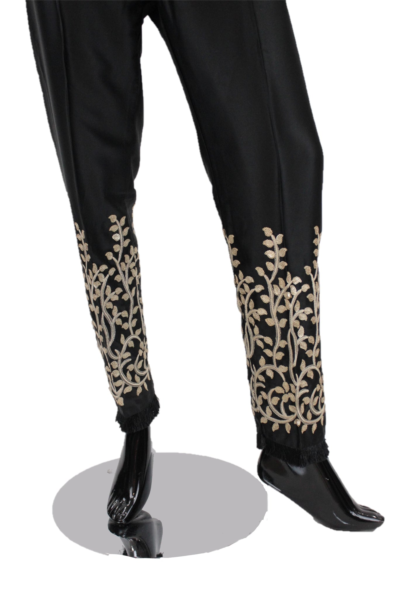 Black Silk Pants with embroidery - SP001