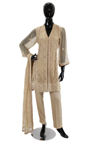 Tan Embroidered Suit with straight pants WF0127