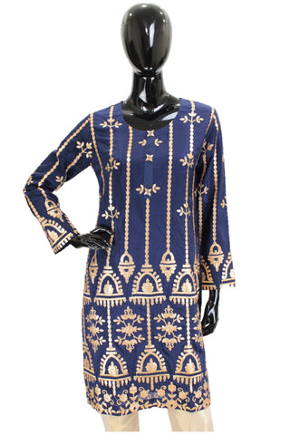 Midnight Blue Silk Kurti Gota Embroidery