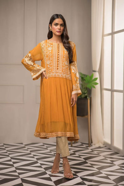 Yellow Kurti Style  with White embroidery