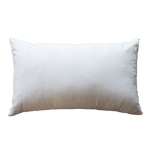 "Load image into Gallery viewer, 12"" x 20"" natural kapok pillow insert with organic cotton cover."