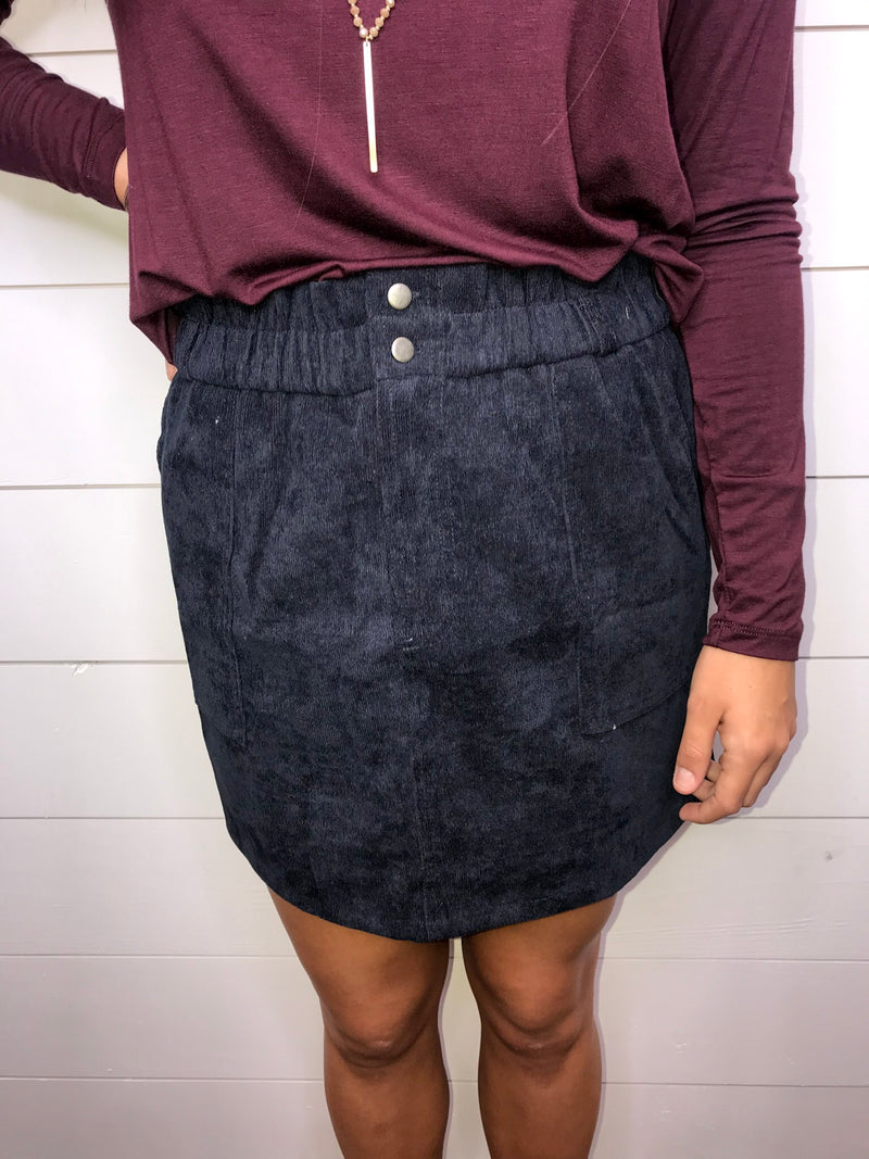 Casual in Corduroy Skirt