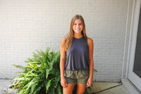 Charcoal Basic Sleeveless Swing Top
