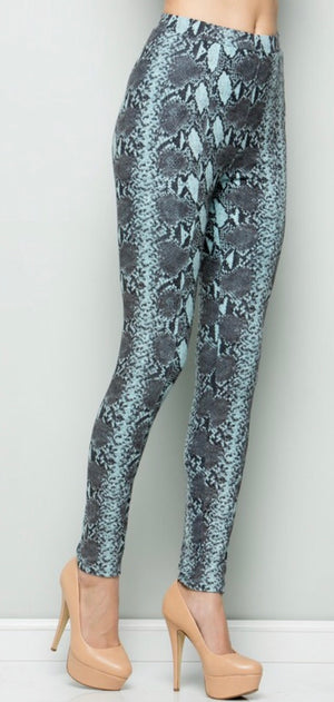 Mint Snakeskin Leggings