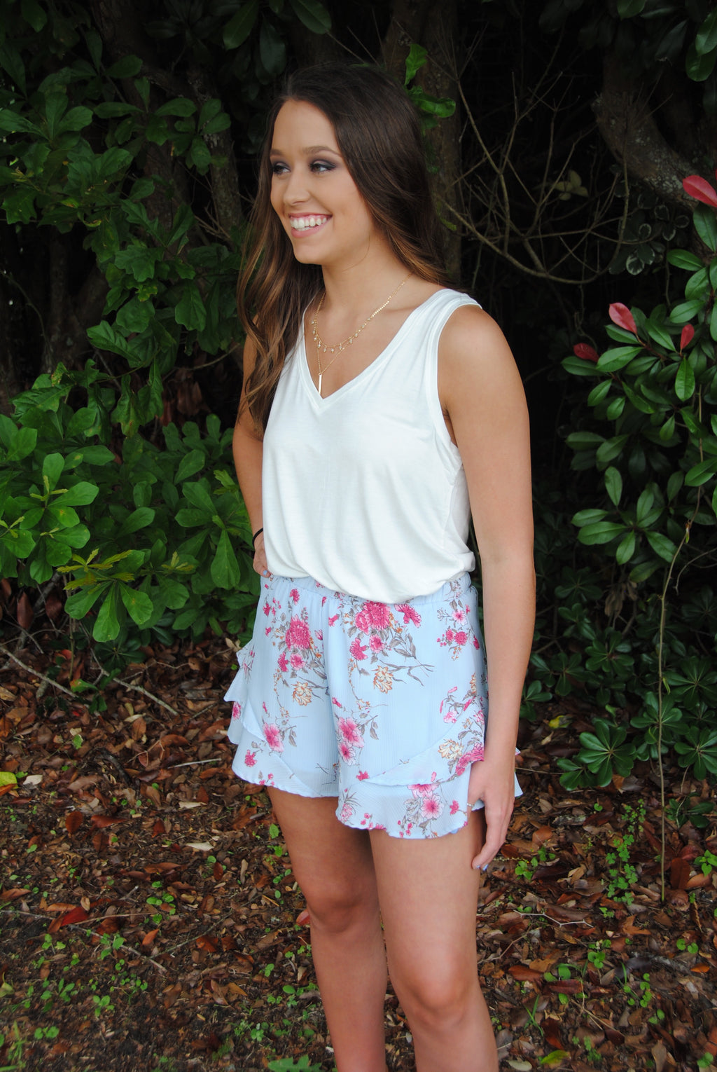 Blushing Blue Ruffle Shorts