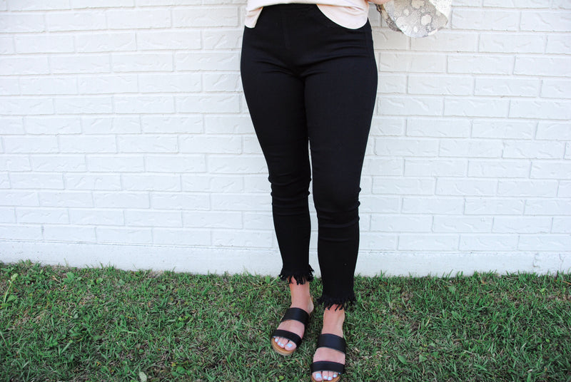 Black Fringe Jegging