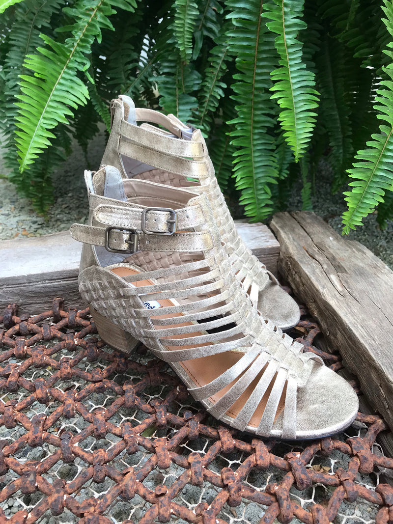 Gold Strappy Wedge