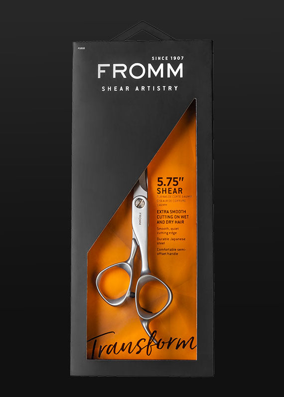 "Fromm Pro Professional Salon Transform 5.75"" Matte Silver Hair Cutting Shear in packaging"