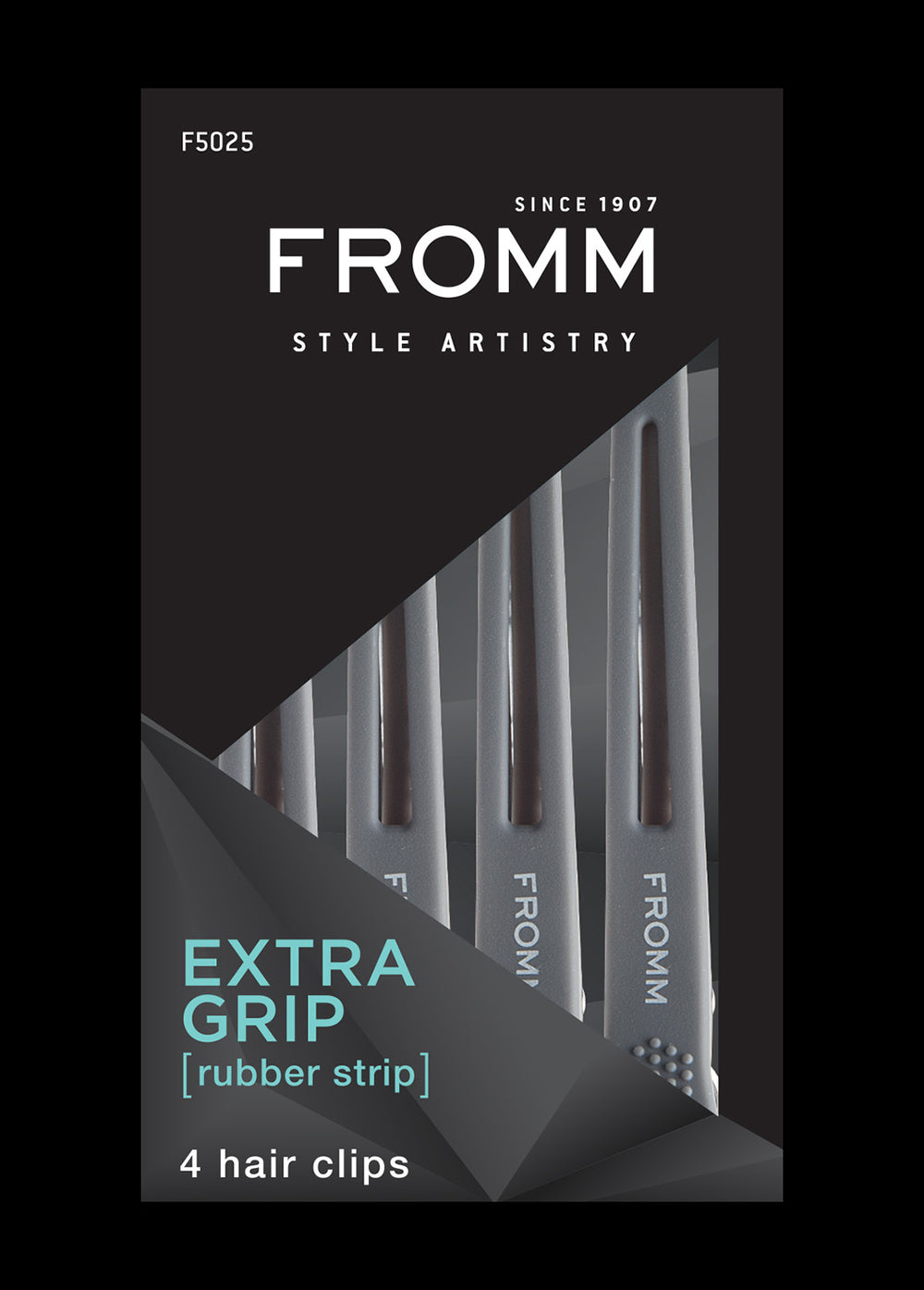 Fromm Pro Professional Salon Gray Rubberized Grip Hair Clip in packaging