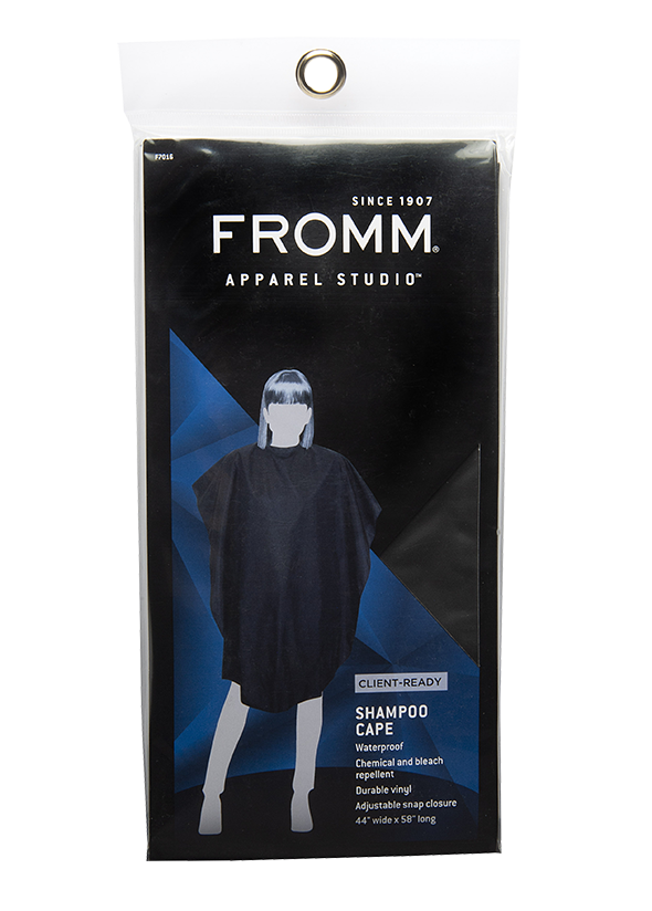 Fromm Pro Professional Salon Client Black Shampoo Cape in packaging
