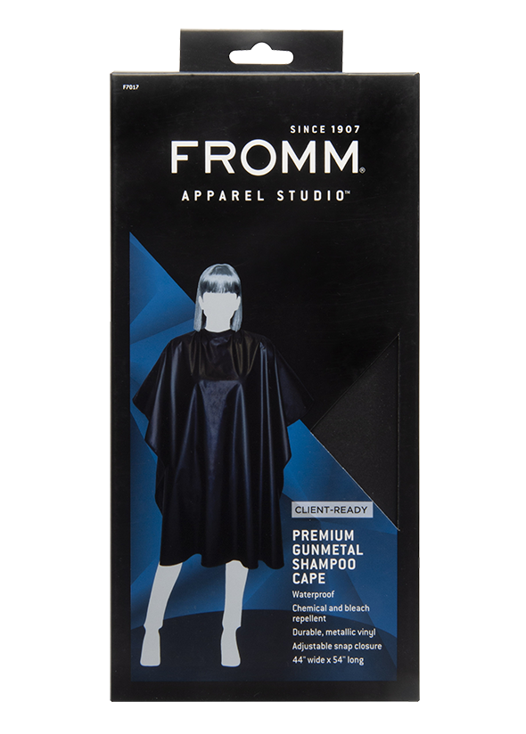 Fromm Pro Professional Salon Client Premium Gunmetal Shampoo Cape in packaging