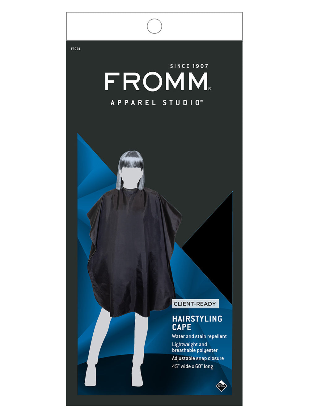 Fromm Pro Professional Salon Teflon® Coated Black Hairstyling Cape in packaging