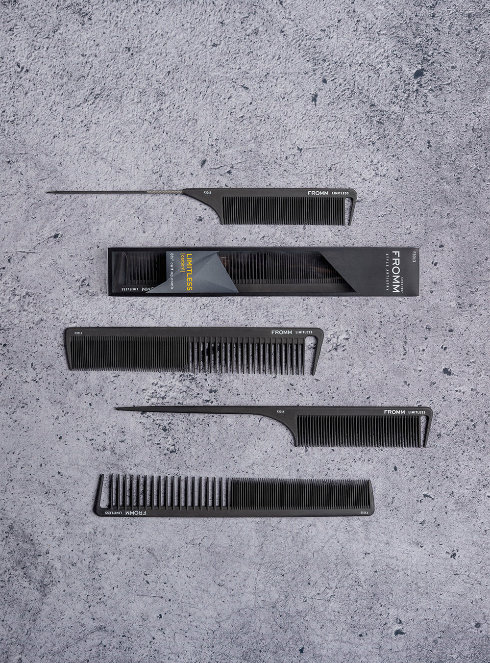 Fromm Pro Professional Hair Salon Limitless Black Carbon Comb Collection