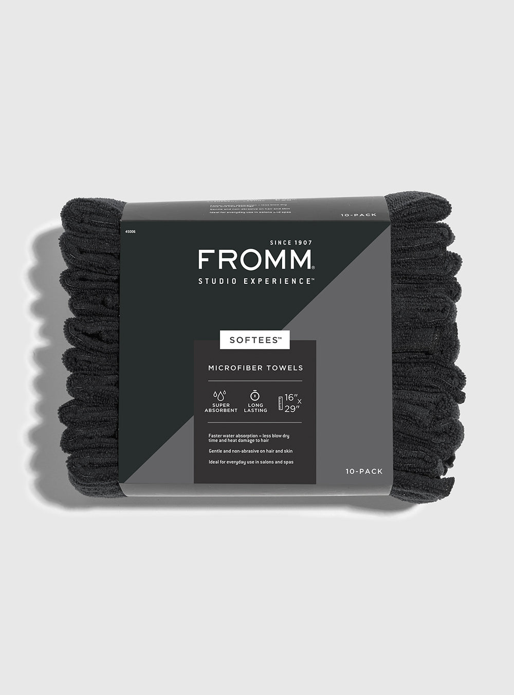 Fromm Pro Professional Salon 10 Pack of Softees Microfiber Black Towels