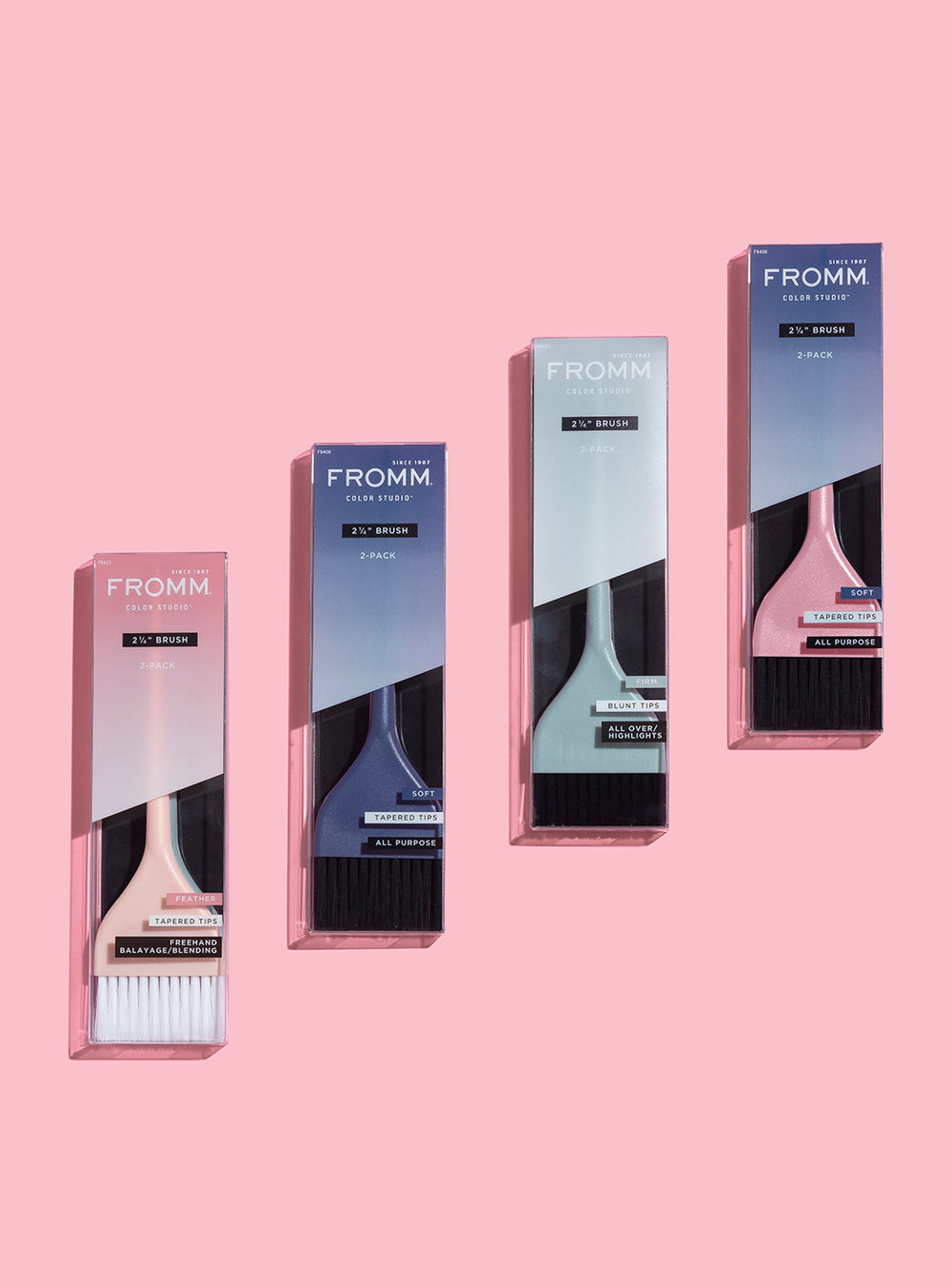 "Fromm Pro Professional Salon 2 1/4"" Soft Pastel Color Brush 2 Pack Assortment Display"