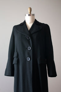 vintage 1930s black wool coat