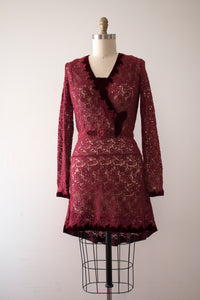 vintage 1930s lace dress with belt