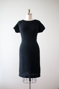 vintage 1950s 60s wool knit beaded dress