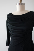 Load image into Gallery viewer, vintage 1950s black jersey knit cocktail dress