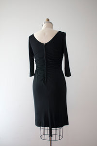 vintage 1950s black jersey knit cocktail dress