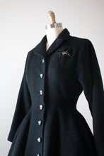 Load image into Gallery viewer, vintage 1940s 50s black princess coat