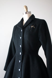 vintage 1940s 50s black princess coat
