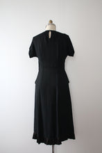 Load image into Gallery viewer, vintage 1940s black rayon dress
