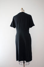 Load image into Gallery viewer, vintage 1940s black rayon evening dress