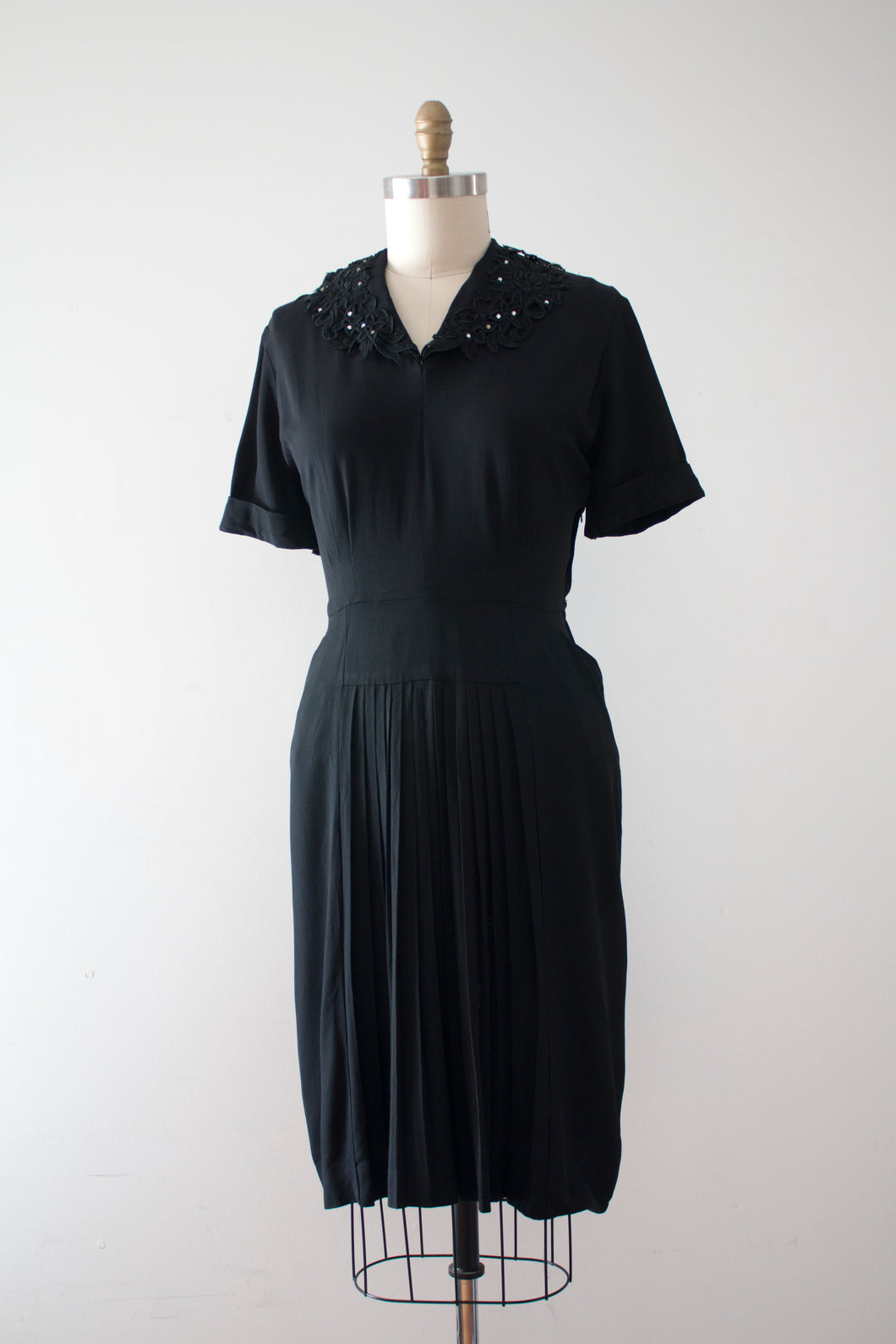 vintage 1940s black rayon evening dress
