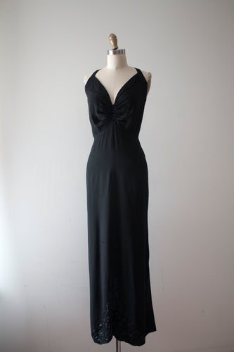 vintage 1930s black bias cut gown