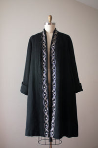 vintage 1950s black swing coat