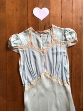 Load image into Gallery viewer, vintage 1930s blue bias cut slip dress lingerie