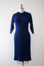Load image into Gallery viewer, vintage 1940s blue knit dress set