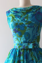 Load image into Gallery viewer, vintage 1960s floral chiffon dress