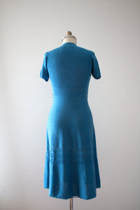 vintage 1940s 50s knit blue dress